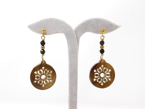 Horn Earrings (Brown-Sapphire)