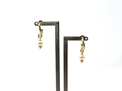 Hoop Earrings with Akoya Pearls