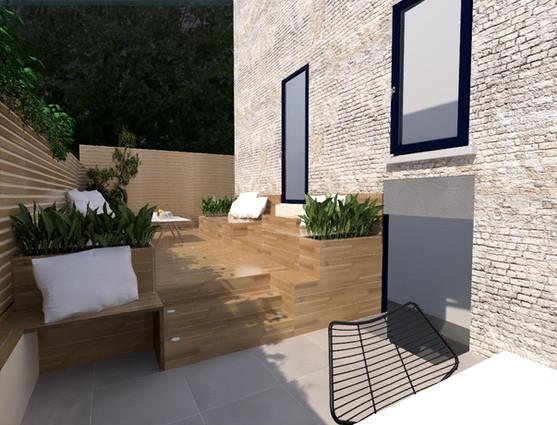 Chez Mme D., Courbevoie (92), 3D vue de la terrasse