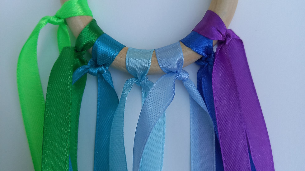 Montessori Sensory Ribbon Wand - Blues And Greens