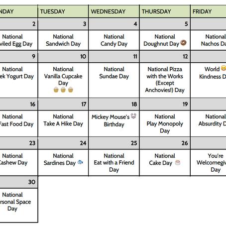 November National Days Calendar