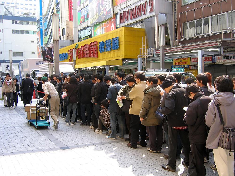 Lines of People in Akihabara