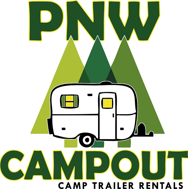 PNW Campout Camp Trailer Nightly Rentals Olympic Peninsula Port Angeles  Bordering Olympic National Park LOGO IMAGE