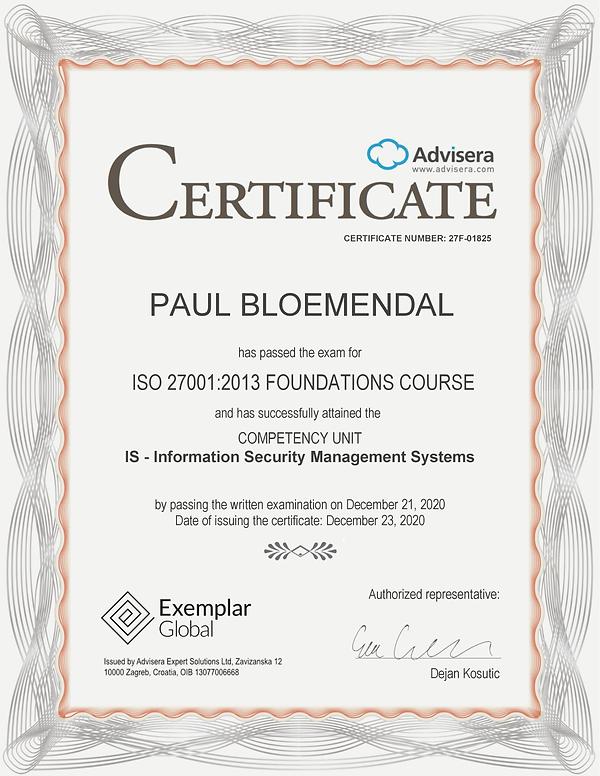 27F-01825 Certificate ISO 27001 Foundati