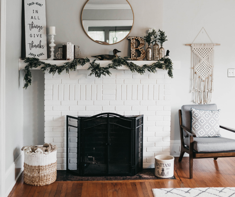 cozy home holiday fireplace mantle