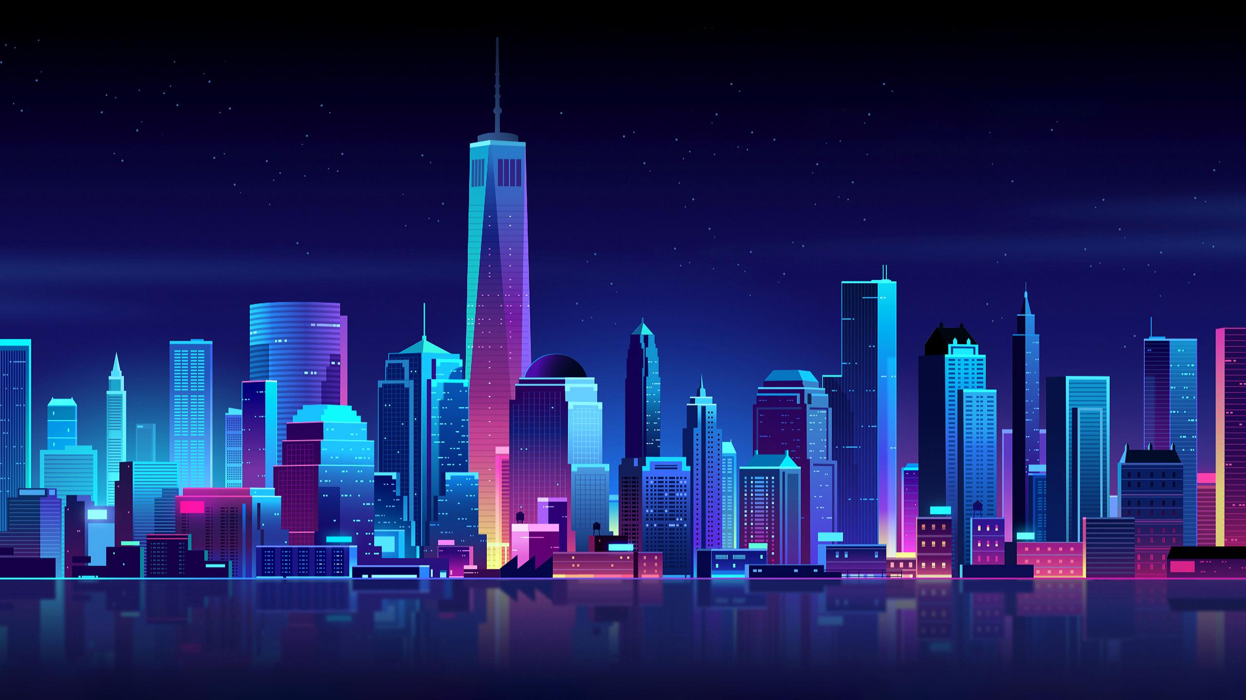 new-york-buildings-city-night-minimalism