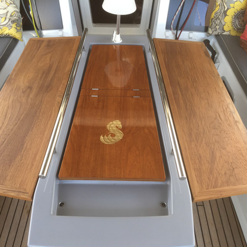 Cockpit table on a boat