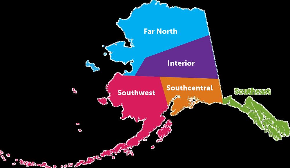 Regions of Alaska map