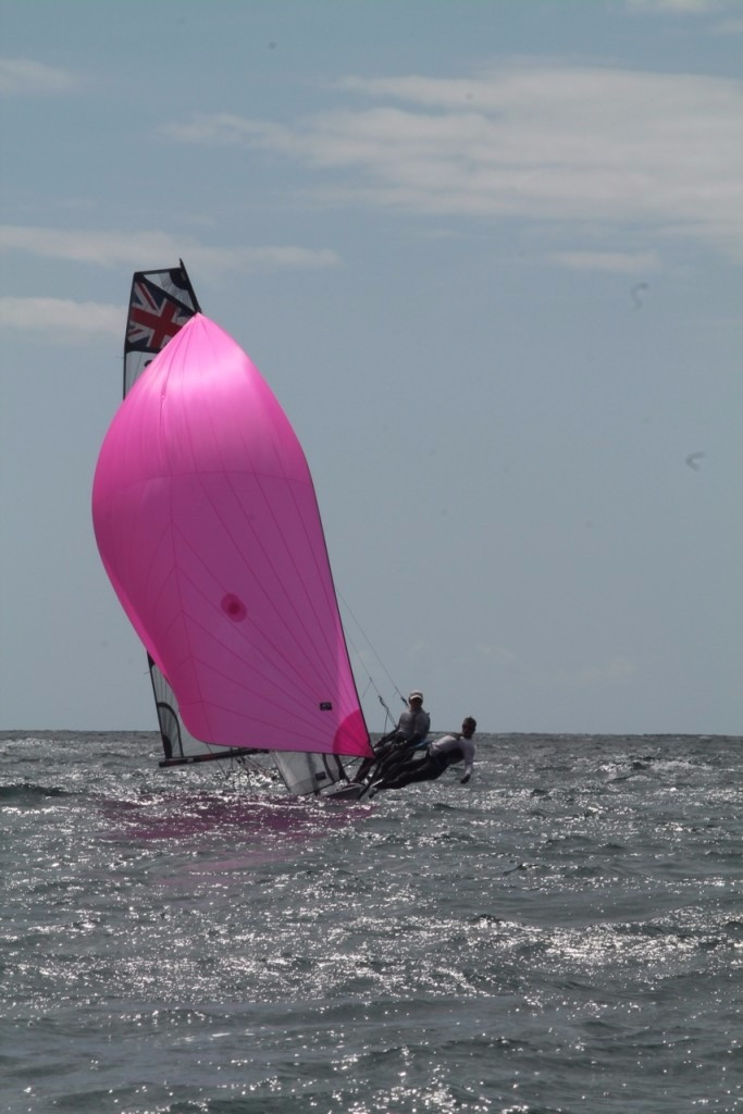Lyme's Will Broom and Joe Joyner flying along in their RS 800.    Photo by Jess Douglas