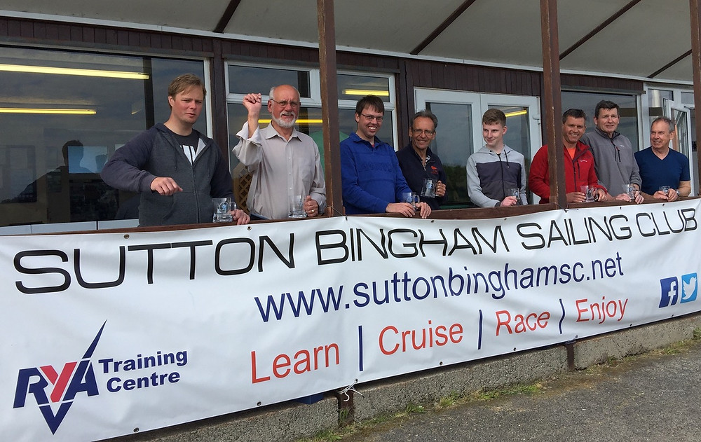 The Winners at Sutton Bingham Multi-class sailing event, Marcus Patton, Mike Burke, Ben Palmer, Eddie Pope, Chris Hatton, Andrew Snell, Alistair Glen and Steve Mitchell