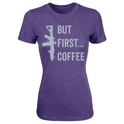 BUT FIRST COFFEE WOMEN'S T-SHIRT - PURPLE RUSH