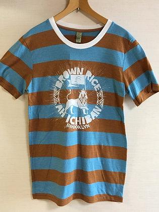Ichiban T shirt-Stripe Blue/Brown