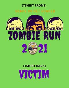 ZOMBIE RUN TSHIRT LOGO FOR RUNNER WITH THREE ZOMBIE HEADS AND EPBA LOGO