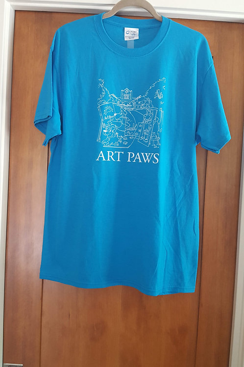 Vintage Blue Art Paws T-shirt