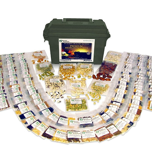 Survival Essentials 144 Variety Ultimate Heirloom Seed Vault for Survival and Pr