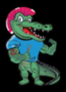 punk crocodile aligator tattoo music piercing drumsticks