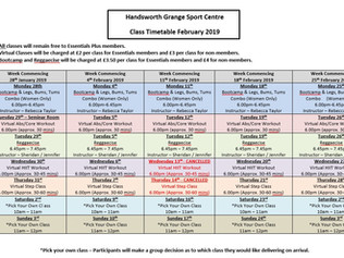 February Class Timetable