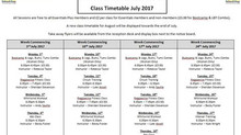 July's Fitness Class Rota Released