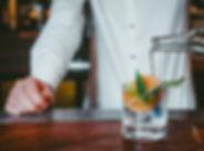 Alcoholic cocktail in bar, Bartender mak