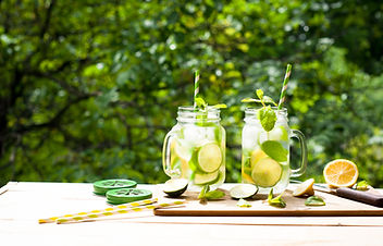 Summer drink lemonade mojito with lime,