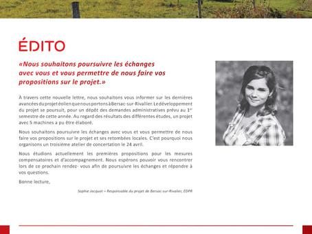 Lettre d'information n°2 : Projet éolien de Bersac-sur-Rivalier
