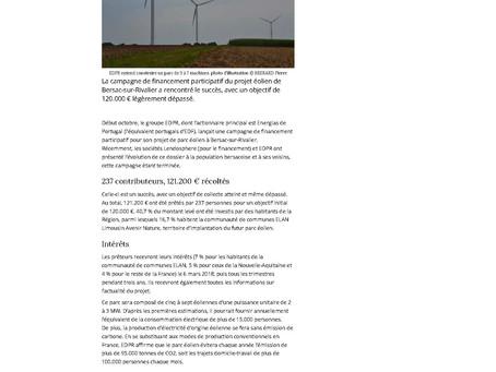 Premier objectif atteint pour le futur parc éolien de Bersac-sur-Rivalier