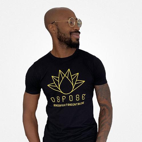 T-shirt Homme noir logo jaune