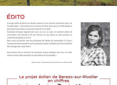 Lettre d'information n°3 : Projet éolien de Bersac-sur-Rivalier