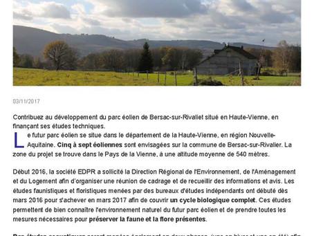 Le parc éolien de Bersac-sur-Rivalier