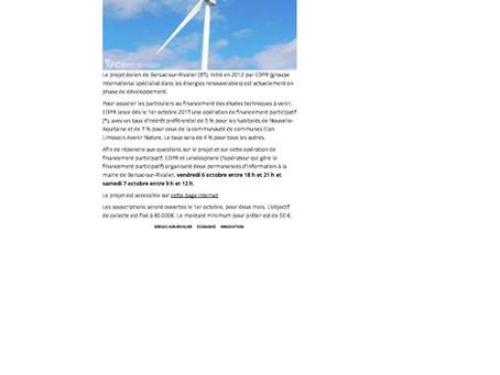 Financement participatif pour des éoliennes à Bersac-sur-Rivalier