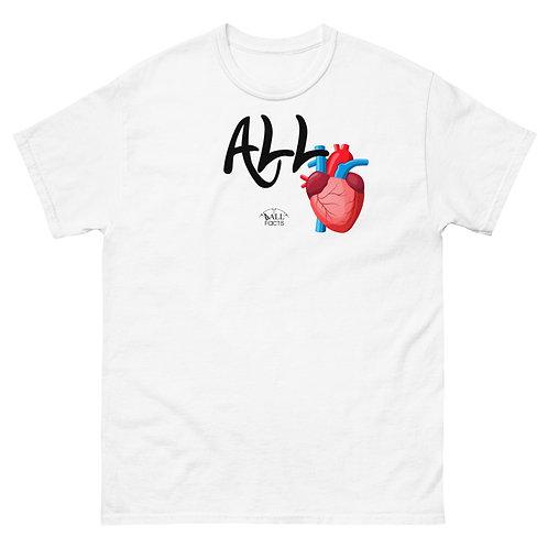 Men's heavyweight ALL HEART T-shirt on (white/grey)