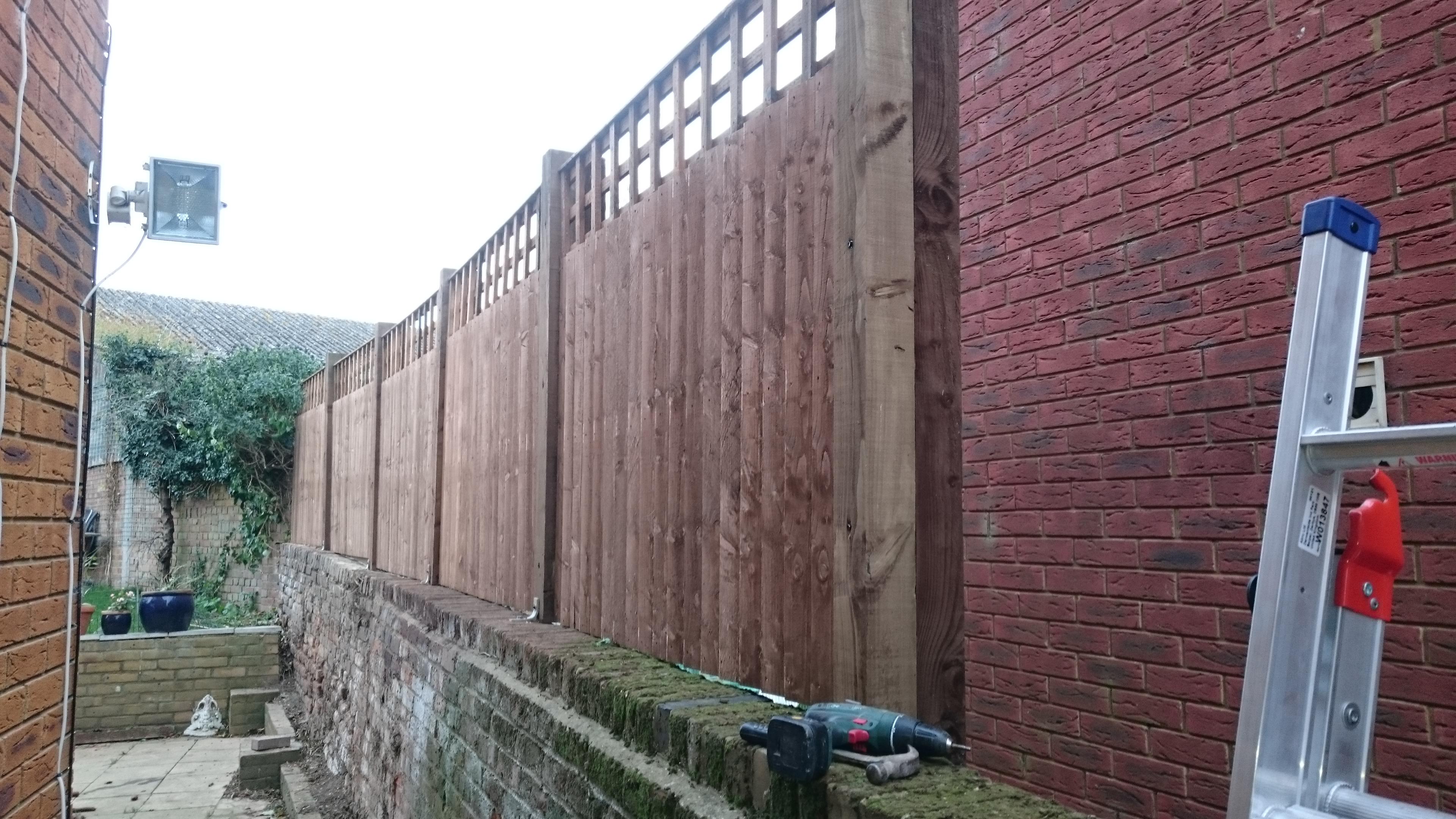 Close Board Panels on Wall Lower Stoke Kent
