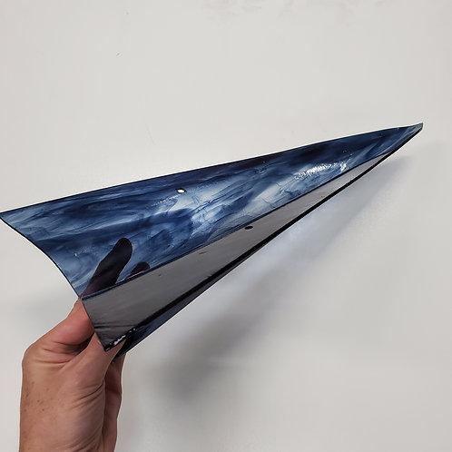 Glass Paper Plane -Steel Blue Streaky