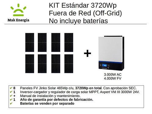 KIT FV ESTANDAR 3720Wp 3000W (Baterías no incluidas)