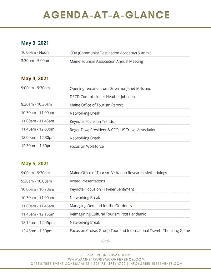 agenda for the Maine Tourism Conference