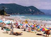 パラソルが立てられないほどの人気のビーチです。