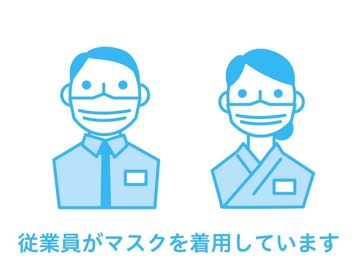 従業員のマスク着用