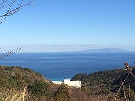 伊豆急ホテルの向こうに見えるのは大島です。ここから飛べたら家に帰れます。