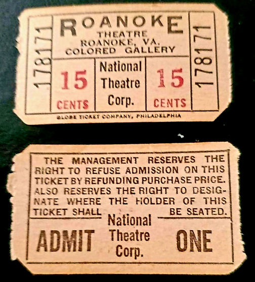 1963 Movie Tickets for colored section..