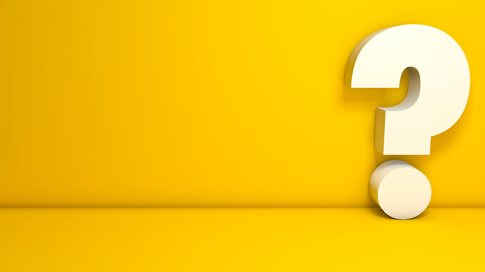 Yellow background with a 3d question mark.