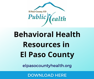 County specific youth action guide including mental health services in El Paso County