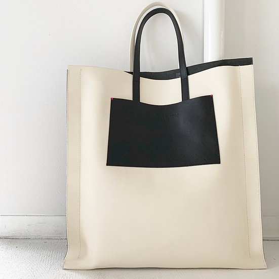 JOKAISEN MUOTO edge tote L leather bag white black othello color made in japan bag brand
