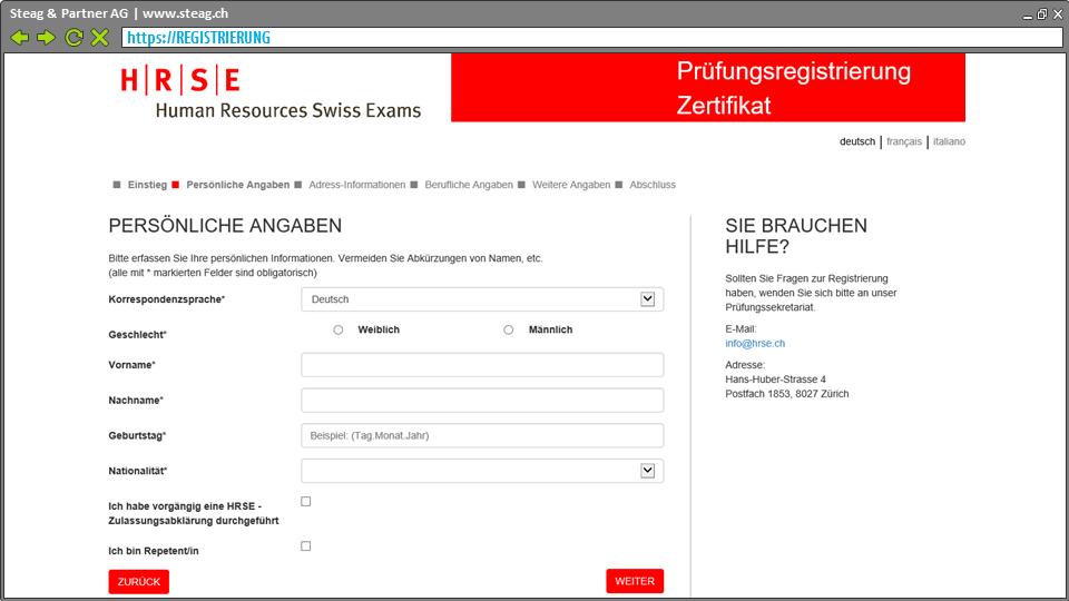 Selbst-Registrierung Kandidat