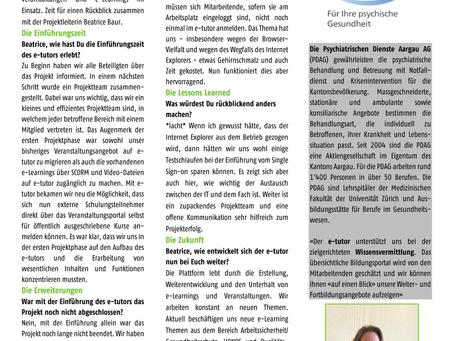 Einführung e-tutor bei den Psychiatrischen Diensten Aargau