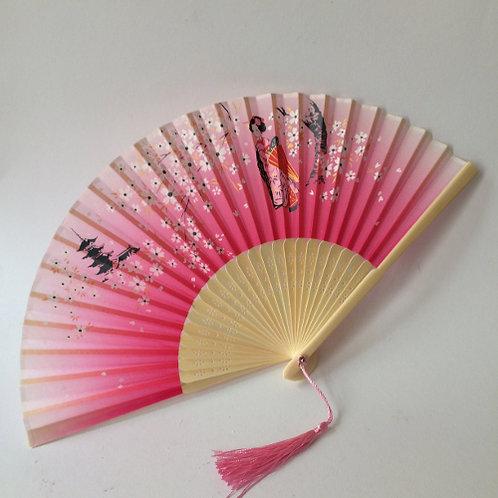 Waaier roze met geisha