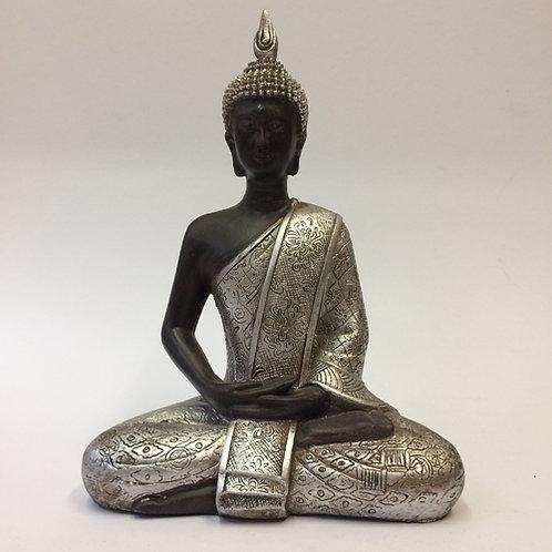 Thaise Boeddha Buddha thailand zilver zwart zittend
