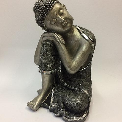 Deze Mooie zwart/zilveren Sleeping Buddha slapende Boeddha