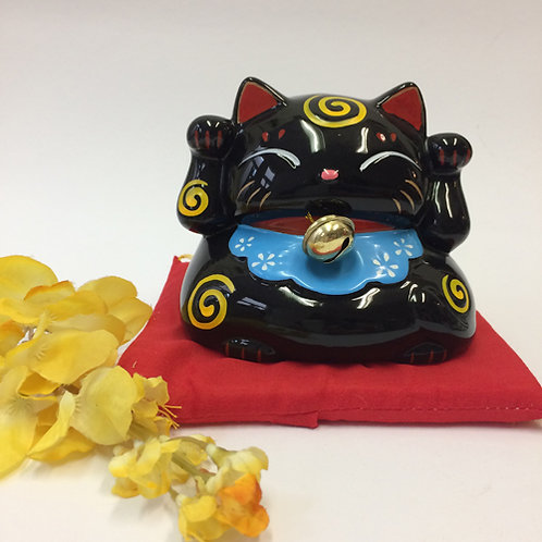 Chinese geluks kat zwart spaarpot porselein