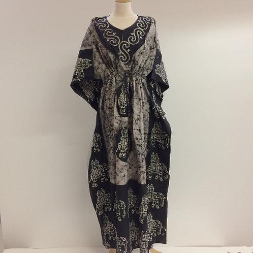 kaftan batik katoen zwart wit