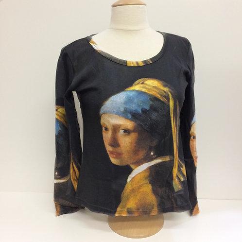 """T-Shirt Lange mouw """"Het Meisje met de parel"""""""